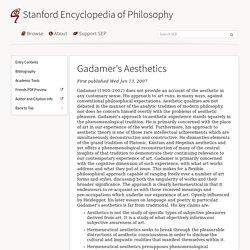 Gadamer's Aesthetics