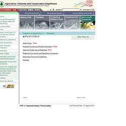 AGRICULTURE, FISHERIES AND CONSERVATION DEPARTEMENT (HK) - Dossier pesticides.