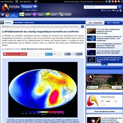 L'affaiblissement du champ magnétique terrestre se confirme