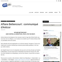 Affaire Bettencourt : communiqué d'Anticor
