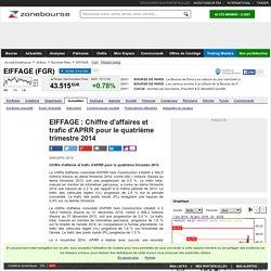EIFFAGE : Chiffre d'affaires et trafic d'APRR pour le quatrième trimestre 2014