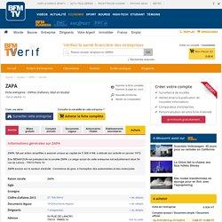 Société ZAPA à PARIS 10 (Chiffre d'affaires, bilans, résultat) avec Verif.com - Siren 722024700