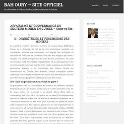 Affairisme& Gouvernance Secteur Minier 2/2