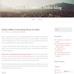 Public Affairs Consulting Firms in India – Public Relations India blog