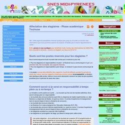 Affectation des stagiaires - Phase académique Toulouse - SNES-FSU Midi-Pyrénées