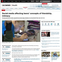 Social media affecting teens' concepts of friendship, intimacy - Health