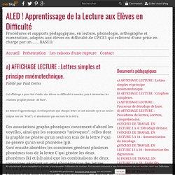 a) AFFICHAGE LECTURE : Lettres simples et principe mnémotechnique. -