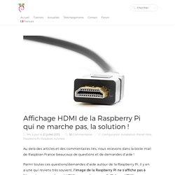 Affichage HDMI Raspberry Pi ne fonctionne pas, solution !