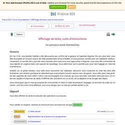 Affichage de texte, suite d'instructions