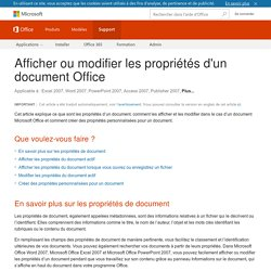 Afficher ou modifier les propriétés d'un document Office - Support Office