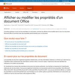 Afficher ou modifier les propriétés d'un document Office - Support Office