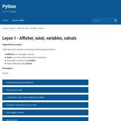 Leçon 1 – Afficher, saisir, variables, calculs – Python