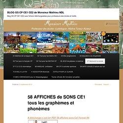 58 AFFICHES de SONS CE1 tous les graphèmes et phonèmes