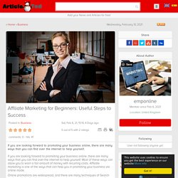 Affiliate Marketing for Beginners: Useful Steps to Success Article