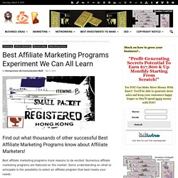Best Affiliate Marketing Programs Experiment We Can All Learn