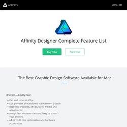 Affinity Designer - Liste complète des fonctionnalités