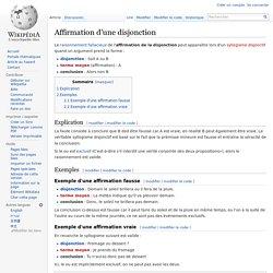 Sophisme - Paralogisme : affirmation d'une disjonction