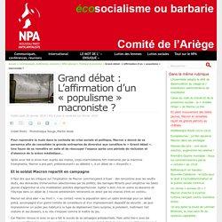 Grand débat : L'affirmation d'un « populisme » macroniste ?