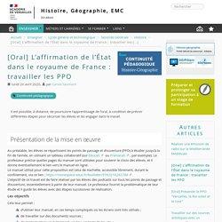 [Oral] L'affirmation de l'État dans le royaume de France : travailler les PPO