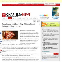 People Are Not Born Gay, Affirms Royal College of Psychiatrists