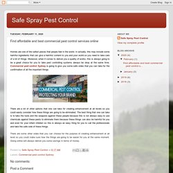 Safe Spray Pest Control: Find affordable and best commercial pest control services online