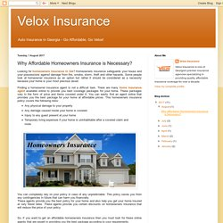 Why Affordable Homeowners Insurance is Necessary?