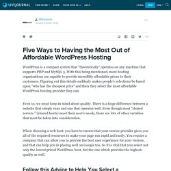 Five Ways to Having the Most Out of Affordable WordPress Hosting