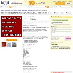 MOST AFFORDABLE TORONTO (GTA) PLUMBERS, CALL: +1-647-557-5059