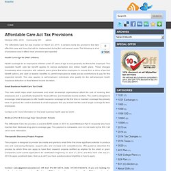 Affordable Care Act Tax Provisions | Mytaxfiler