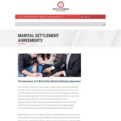 MARITAL SETTLEMENT AGREEMENTS