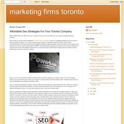 Affordable Seo Strategies For Your Toronto Company