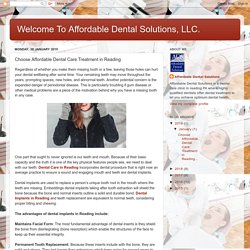 Choose Affordable Dental Care Treatment in Reading