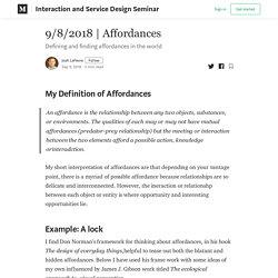 Affordances - Interaction and Service Design Seminar - Medium