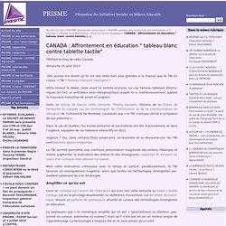 """CANADA : Affrontement en éducation """" tableau blanc contre tablette tactile"""""""