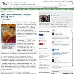 HEALTH: Pneumonia action falling short | Afghanistan | Angola | Bangladesh | Burkina Faso | DRC | Ethiopia | Indonesia | Kenya | Niger | Nigeria | Pakistan | Tanzania | Uganda