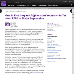 RAND | News Release | One In Five Iraq and Afghanistan Veterans Suffer from PTSD or Major Depression