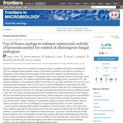 FRONTIERS IN MICROBIOLOGY 07/03/14 Use of benzo analogs to enhance antimycotic activity of strobilurin for control of aflatoxigenic fungal pathogens
