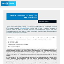 General conditions for using the AFP Forum site