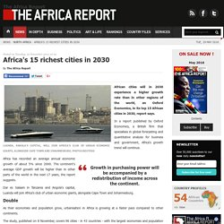 Africa's 15 richest cities in 2030