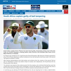 South Africa captain guilty of ball tampering