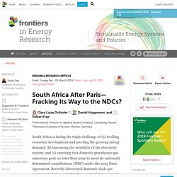 FRONT. ENERGY RES. 05/03/19 South Africa After Paris—Fracking Its Way to the NDCs?