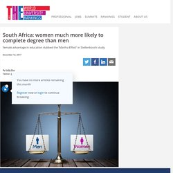 South Africa: women much more likely to complete degree than men