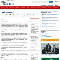 Africa: World Reaction to Trump Inauguration Mixed