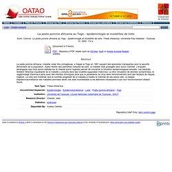 OATAO - 2002 - La peste porcine africaine au Togo : épidémiologie et modalités de lutte