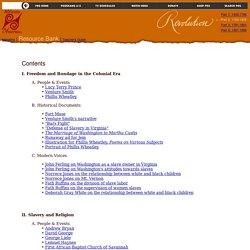 Resource Bank Contents