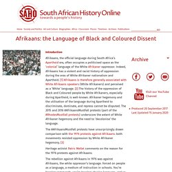 Afrikaans: the Language of Black and Coloured Dissent