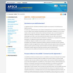 AFSCA - Faq – Additifs.