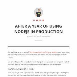 After a year of using NodeJS in production