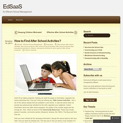 How to Find After School Activities? « EdSaaS