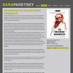 Afterword to The Brothers Karamozov